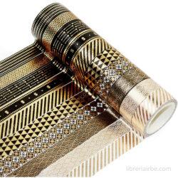 Set 10 Rollos de Cinta Adhesiva Decorativa Washi Tape - Dorados
