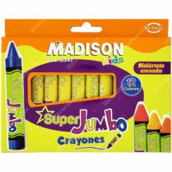 Set 12 Crayones de Cera Super Jumbo MADISON Kids