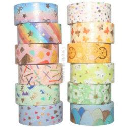 Set 12 Rollos de Cinta Adhesiva Decorativa Washi Tape