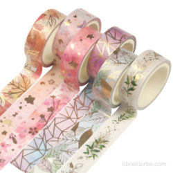 Set 6 Rollos de Cinta Adhesiva Decorativa Washi Tape - Florales