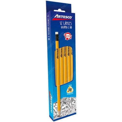 Caja 12 Lápices de Grafito Nº 2 HB con Borrador Artesco