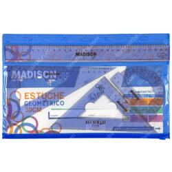 Estuche Geométrico 30 cm de 4 Piezas con Cierre MADISON Azul