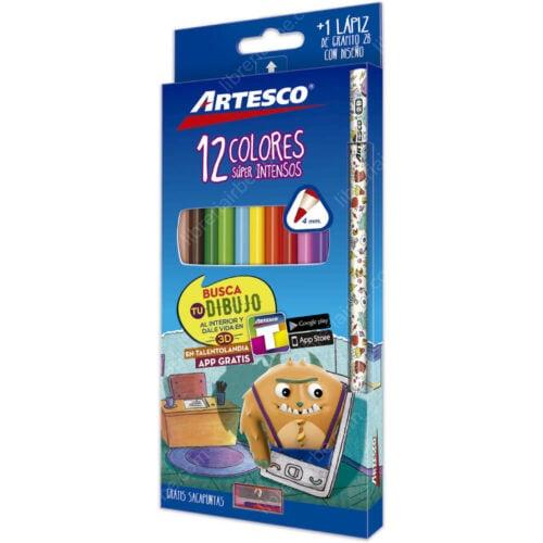 Set 12 Lápices de Colores Artesco + 1 Lápiz de Grafito 2B y Tajador