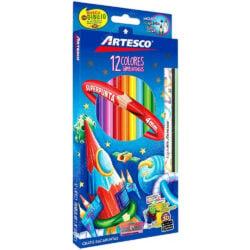 Set 12 Lápices de Colores Artesco + 1 Lápiz de Grafito y 1 Lápiz Mix