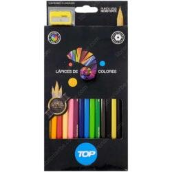 Set 12 Lápices de Colores TOP + 2 Lápices de Grafito, Lápiz Dorado y Tajador