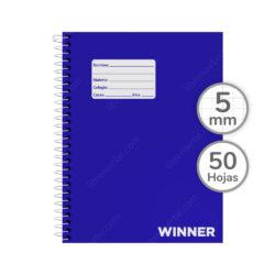 Cuaderno Anillado Medio Oficio WINNER con 50 Hojas Cuadriculadas 5 mm