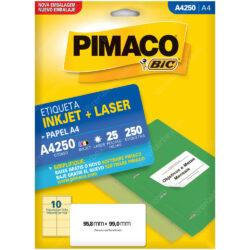 Paquete 250 Etiquetas Adhesivas de uso manual e Inkjet + Laser PIMACO (55.8 x 99 mm)