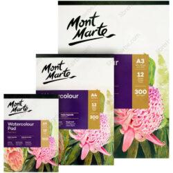 Blocs de Papel para Acuarela Mont Marte Premium con 12 Hojas de 300 g