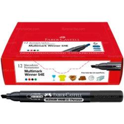 Caja 12 Marcadores Permanentes Punta Biselada Faber-Castell Multimark Winner 54-E Negro