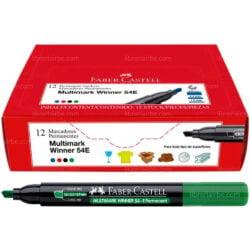Caja 12 Marcadores Permanentes Punta Biselada Faber-Castell Multimark Winner 54-E Verde